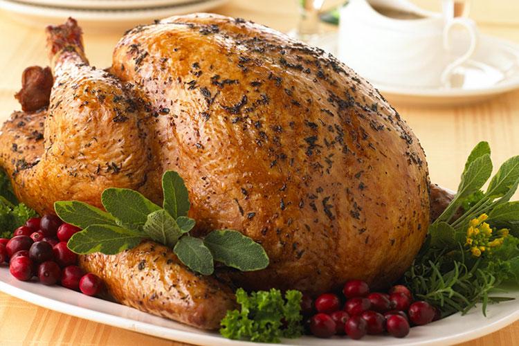 Fresh Thyme-Rubbed Turkey with White Cranberry Baste
